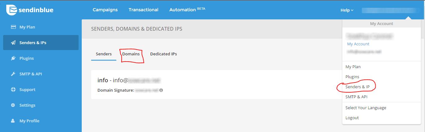 send-in-blue-add-domain-in-dashboard