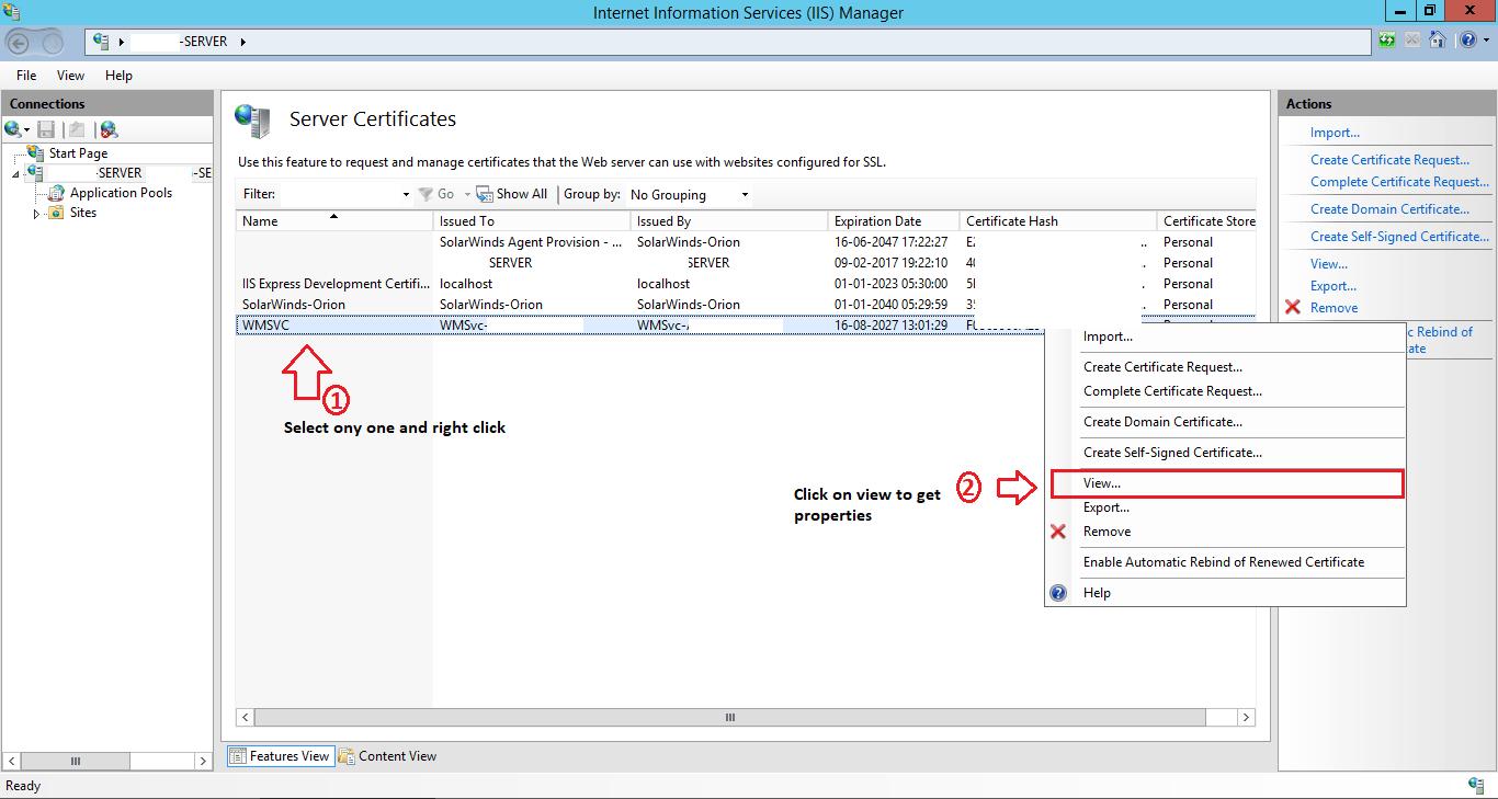 selecting SSL certificate